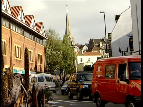general views of bristol town centre general views more of streets / general view spire of st mary redcliffe parish church pull out / general views... - spire stock videos & royalty-free footage