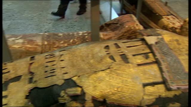 general views of british museum display of egyptian mummies / mummies scanned at blackheath hospital; england: london: british museum: int various of... - british museum stock videos & royalty-free footage
