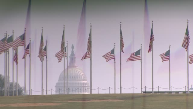 general views of capitol building in washington dc usa washington dc ext us flags flying around the washington monument with the dome of the capitol... - kuppeldach oder kuppel stock-videos und b-roll-filmmaterial
