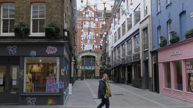 general views of carnaby's empty streets during third national covid-19 lockdown on january 11, 2021 in london, england - high street stock videos & royalty-free footage