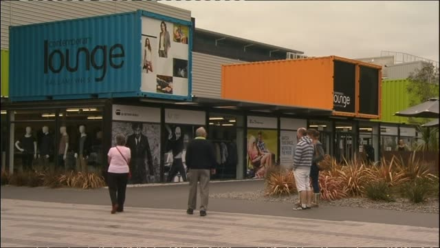 general views of christchurch's restart container shopping mall - cargo container stock videos & royalty-free footage