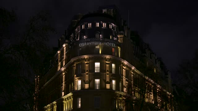 december 17: general views of corinthia hotel at night on december 17, 2020 in london, england - street light stock videos & royalty-free footage