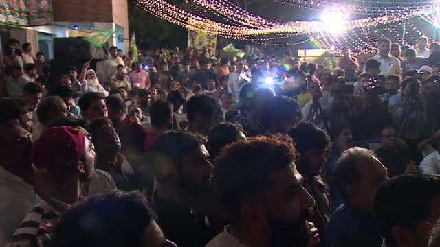 General views of crowds at a PML rally in Lahore Pakistan