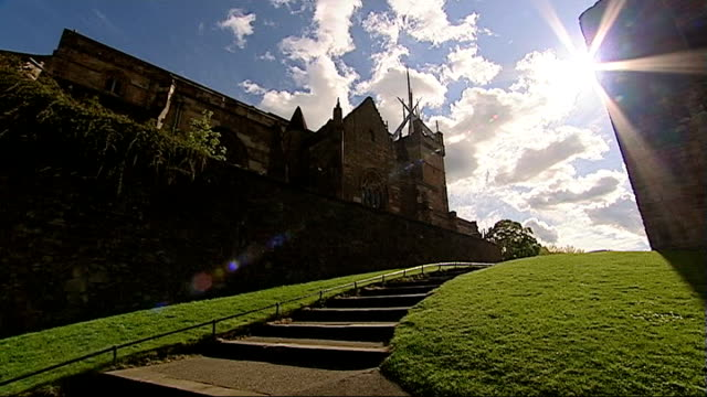 general views of edinburgh and linlithgow more views of linlithgow palace / archway at palace / crests over archway - linlithgow stock videos and b-roll footage