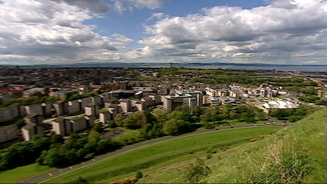 general views of edinburgh and linlithgow scottish parliament building / view over the city and round to the scottish parliament / entrance to... - linlithgow stock videos and b-roll footage