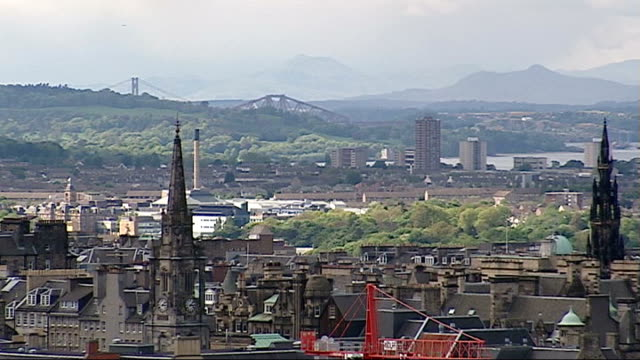 general views of edinburgh and linlithgow view over the rooftops of edinburgh / national monument / view over rooftops / scottish parliament building... - linlithgow stock videos and b-roll footage