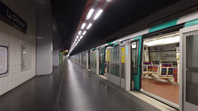 general views of empty train stations on april 27 2020 during lockdown in paris - underground train stock videos & royalty-free footage