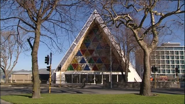 General views of exterior of Christchurch's Anglican Transitional Cardboard Cathedral