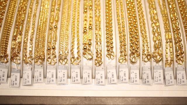 General views of gold bracelets on display