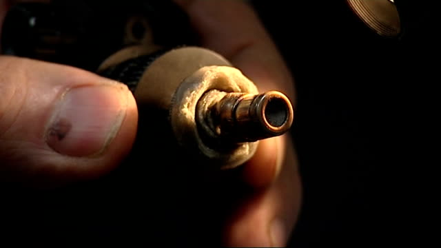 general views of guns stored at national ballistics intelligence service laboratory general views and close shots of bullets being examined under... - chest of drawers stock videos & royalty-free footage