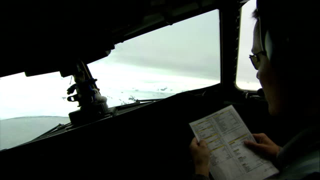 scientists' camp / crevasse abseiling / hms endurance antartica back view pilots at controls of plane seascapes seen through front window of cockpit - crevasse stock videos & royalty-free footage