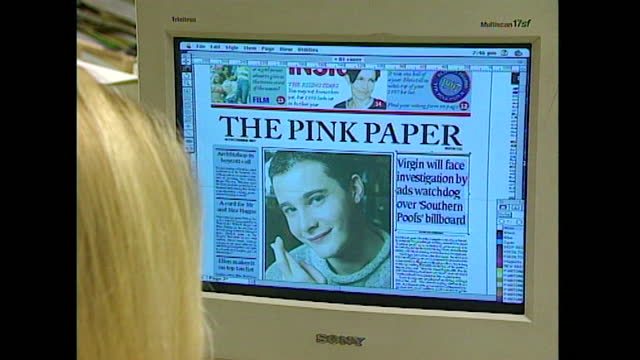 general views of journalists working in the pink paper newspaper office, uk; 1998. - computer monitor stock videos & royalty-free footage