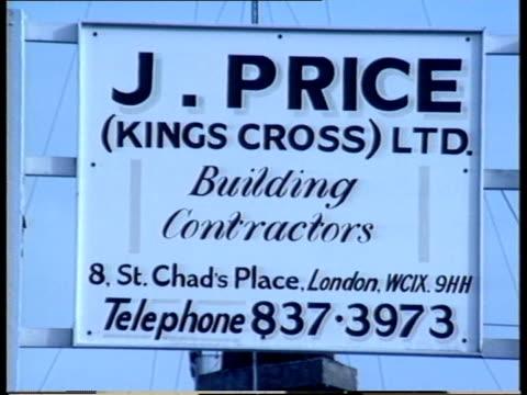 General views of Kings Cross in the late 1980s Person walking along side street between buildings / close up sign 'J Price Kings Cross Ltd Building...