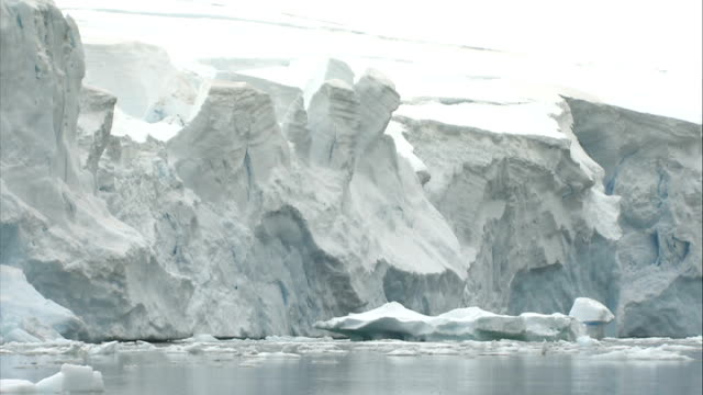 ice floes / crevasse / mountains more of ice floes some pale blue coloured / good shots of exposed sides of broken ice shelf bluecoloured ice... - crevasse stock videos & royalty-free footage