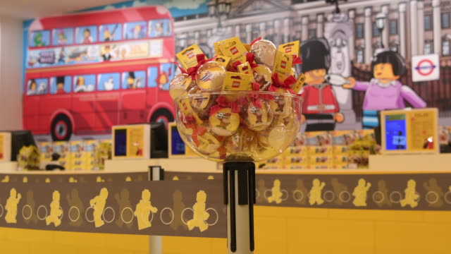 General views of Lego Brand merchandise and displays at the opening party event of the new flagship Lego store on November 16 2016 in London England...