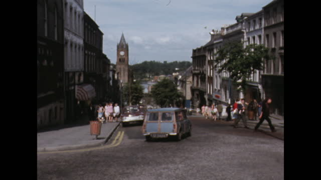 general views of londonderry, northern ireland, including street scene and surrounding countryside; 1969. - establishing shot stock videos & royalty-free footage