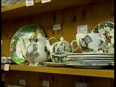 general views of oxford int genearl views of interior of shop with various alice in wonderland merchandise including characters the cheshire cat the... - mad hatter stock videos and b-roll footage