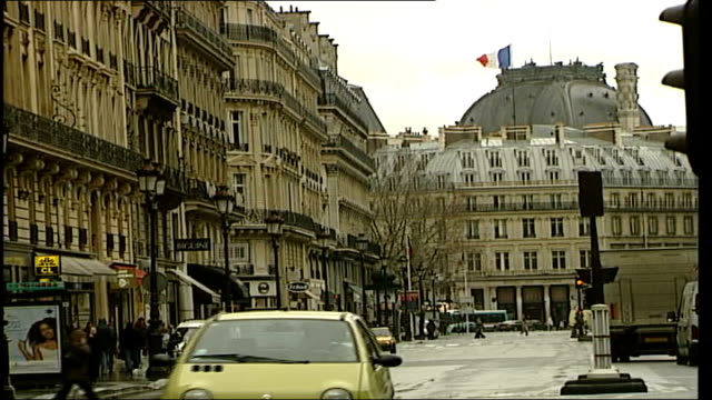 paris ext palais garnier with sign 'taxi parisien' in foregound on top of taxi / various of people and traffic along on streets / various of french... - opera stock videos & royalty-free footage