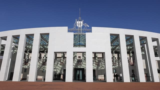 general views of parliament house on july 9, 2020 in canberra, australia. - parliament building stock videos & royalty-free footage