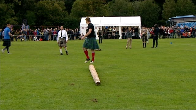 general views of pitlochry highland games general views of men tossing the caber during competition - highland games stock videos & royalty-free footage