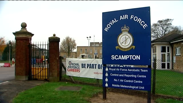 general views of red arrows base raf scampton england lincolnshire lincoln raf scampton ext 'royal air force scampton' sign at entrance to raf... - air force stock videos & royalty-free footage