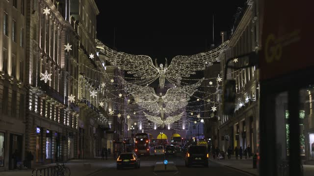 general views of regent street st james's and it's christmas decorations at night on december 17, 2020 in london, england - fairy lights stock videos & royalty-free footage