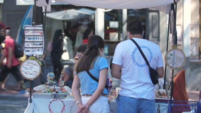general views of san telmo open-air market on february 20 in buenos aires, argentina. - san telmo stock videos & royalty-free footage