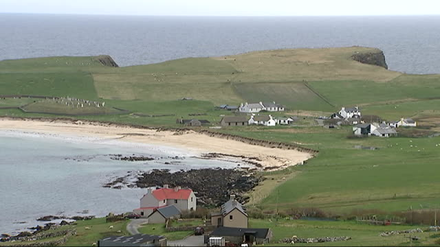 general views of shetland isles water crashing on rocks / sea birds flying around rocky coastline / sheep in field / beach and fields / sea crashing... - water bird stock videos & royalty-free footage