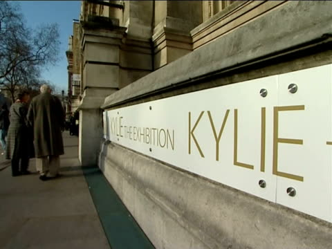 general views of stage costumes on display at kylie minogue exhibition; more of costumes in exhibition including gold mini-skirt and cropped top ext... - kylie minogue the exhibition stock videos & royalty-free footage