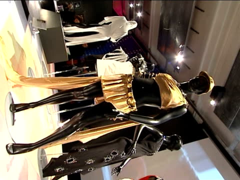 general views of stage costumes on display at kylie minogue exhibition * * music heard over following shots sot * * more of costume exhibits... - spandex stock videos & royalty-free footage