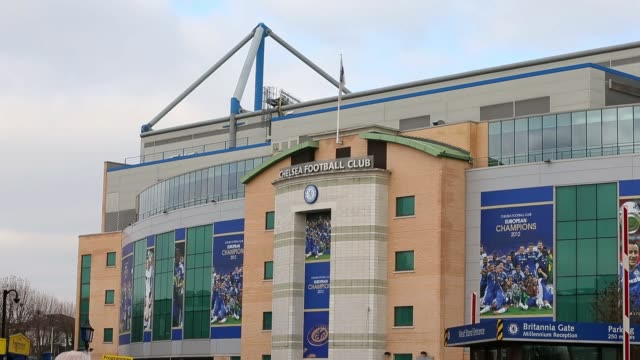 general views of stamford bridge, home to chelsea fc before the barclays premier league match between chelsea and west bromwich albion at stamford... - general view stock videos & royalty-free footage