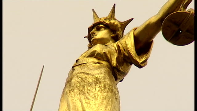 general views of the central criminal court england london city of london old bailey ext general views of the central criminal court including good... - statue of justice london stock videos and b-roll footage