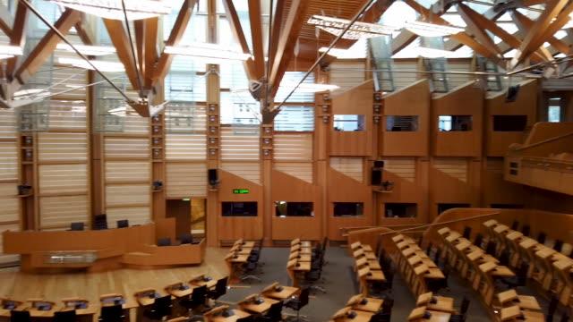 general views of the chamber of the scottish parliament on november 20 2019 in edinburgh scotland - holyrood bildbanksvideor och videomaterial från bakom kulisserna