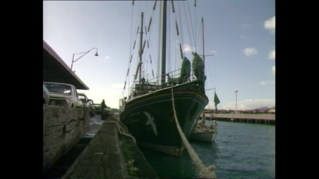 general views of the greenpeace vessel rainbow warrior docked in auckland - 1985 stock videos & royalty-free footage