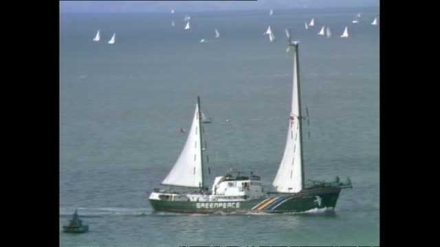 general views of the greenpeace vessel rainbow warrior sailing into auckland - 1985 stock videos & royalty-free footage