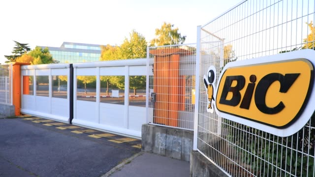 general views of the headquarters of bic, french maker of disposable lighters, pens and razors on july 29, 2020 in clichy, france. bic saw its profit... - 使い捨て製品点の映像素材/bロール
