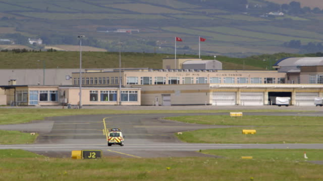 General views of the Isle of Man's airport where the racing driver Lewis Hamilton is reported to have flown into on his private jet in order to meet...