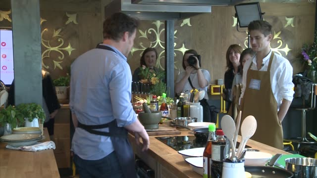 general views of the jamie oliver cookery school / jamie oliver interview; england: london: int various shots of cooking equipment on display / jamie... - jamie oliver stock videos & royalty-free footage