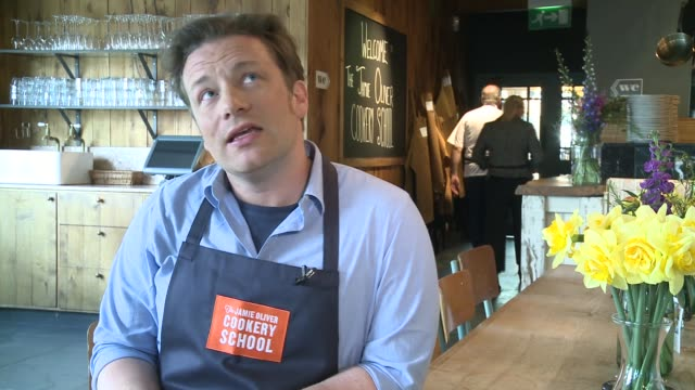 general views of the jamie oliver cookery school / jamie oliver interview; jamie oliver interview sot - on the jamie oliver cookery school / the need... - jamie oliver stock videos & royalty-free footage