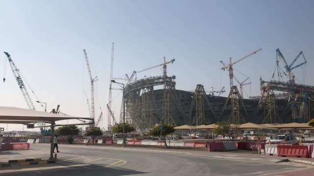 general views of the lusail stadium in doha, which will host the final of the 2022 fifa world cup in qatar. construction officially began on in april... - fußballweltmeisterschaft stock-videos und b-roll-filmmaterial