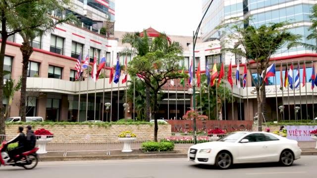 general views of the meliá hanoi dprkusa summit at the international media centre on february 24 2019 in hanoi vietnam preparations continue in hanoi... - 首脳会議点の映像素材/bロール