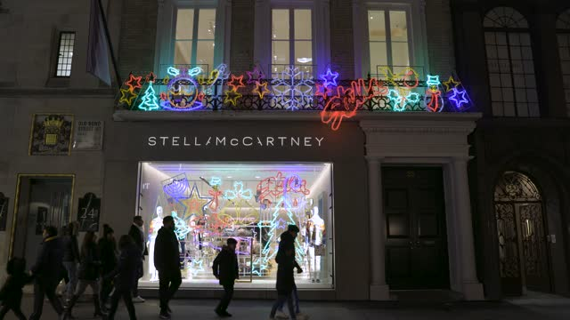 december 12: general views of the stella mccartney store and it's christmas decorations in old bond street on december 12, 2020 in london, england - ブランド ステラマッカートニー点の映像素材/bロール