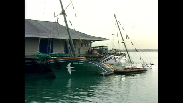 General views of the sunken Greenpeace vessel Rainbow Warrior after explosion
