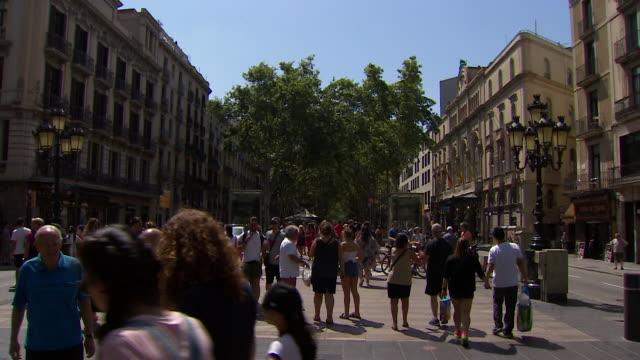 General views of tourists and police on La Rambla Barcelona