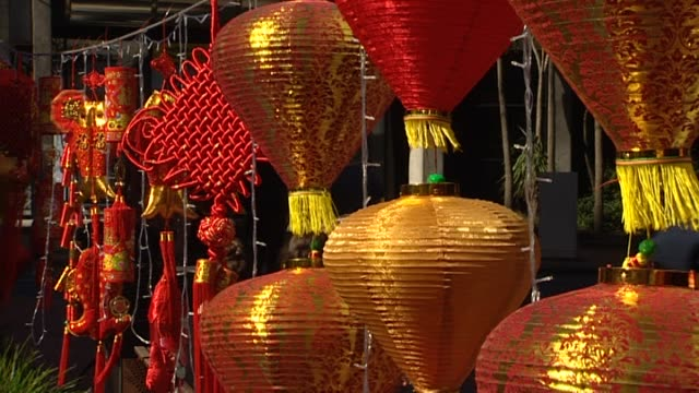 general views of wellington night market during chinese new year celebrations for year of the rooster - chinesisches laternenfest stock-videos und b-roll-filmmaterial