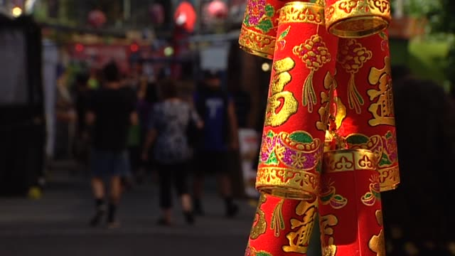 general views of wellington night market during chinese new year celebrations - chinesisches laternenfest stock-videos und b-roll-filmmaterial