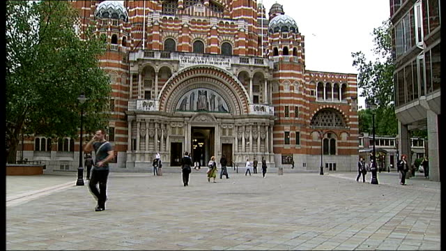 general views of westminster cathedral: exteriors and interiors; england: london: westminster: ext general view of westminster cathedral / religious... - westminster cathedral stock videos & royalty-free footage
