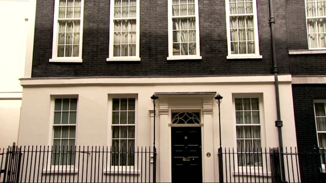 general views of westminster political buildings downing street general view of downing street/ general views of number 11 downing street including... - front doorway stock videos & royalty-free footage