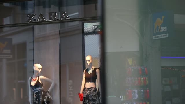 general views pedestrians pass a zara clothing fashion store operated by inditex sa on kalverstraat in amsterdam netherlands on thursday feb 13... - window display stock videos and b-roll footage