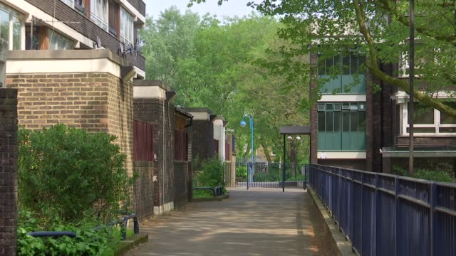 general views southwark council estates; england: london: southwark: ext gvs tower blocks on council estate/ aberfeldy house sign/ gvs aberfeldy... - surrounding stock videos & royalty-free footage